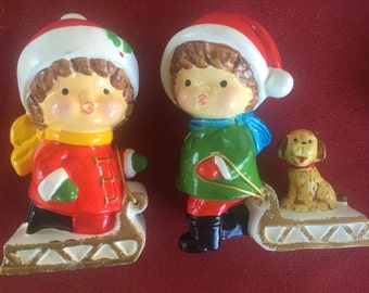 Vintage RB Christmas Holiday Children on sleds Made in Japan