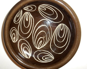 "Arabia Finland Dish Brown w/ Beige Abstract Design 5"" Diameter 1949-1964 Mark"