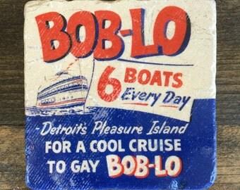Boblo Detroit Vintage Sign Art Coaster with cork backing