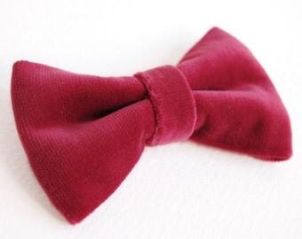 Red Velvet Bow Hair Clip Bow Tie Clip On Gift for Girl Bowtie Tuxedo Christmas Gift