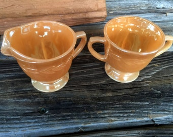 Vintage Fire King, Sugar and Creamer, Peach Lustre,  Laurel Bay, Creamer and Sugar Set, Vintage kitchen, Drinkware,