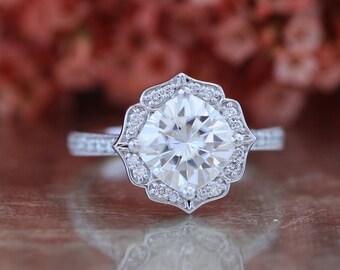 Vintage Floral Forever One Moissanite Engagement Ring in 14k White Gold Milgrain Diamond Wedding Band 8x8mm Cushion Moissanite Ring