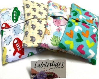 2 Baby BOOBOO BAGS - Flax- Removable / Washable cover -  Microwavable -  shower gift - Tummy pains - Flax heating pad - Hot / Cold Pack
