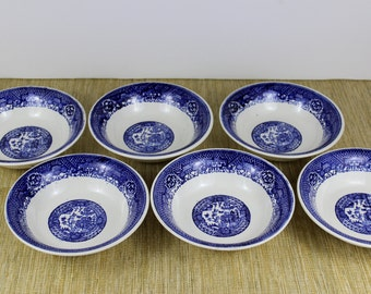Blue Willow Cereal/Dessert/Salad Bowls, Unmarked Vintage Blue Transferware Bowls