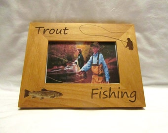 Personalized Wooden Picture Frame- Trout Fishing