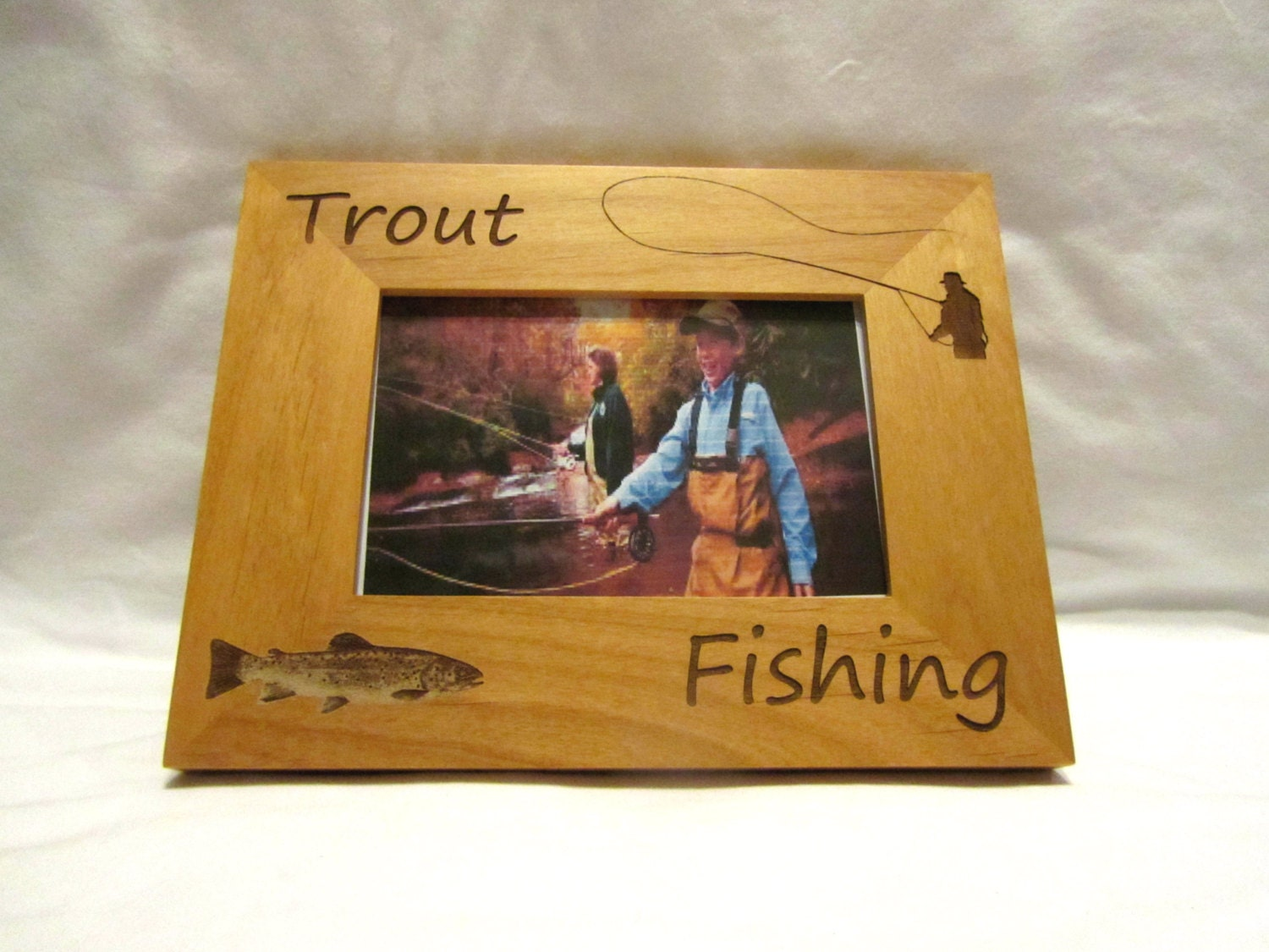 Personalized Wooden Picture Frame- Trout Fishing from ...