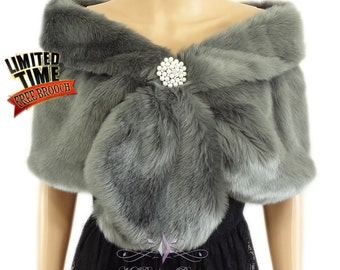 Faux Fur Wrap, Gray Faux Fur Stole, Wedding Shawl, Bridal Fur Wrap, Faux Fur Shrug, faux Fur Stole, Bridal Wrap, Bridal Fur Stole FS108-GRAY