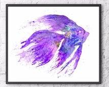 Purple print, Watercolor Painting Fish Art Print, Purple Home Decor, Sea Life Art, Ocean Life Art, Fish Illustration Art, Wall Art - F189