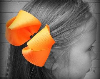 Neon Orange Hair Bow, Neon Boutique Hair Bow, Neon Hairbow, Neon Hair Clip, Boutique Hair Bow, Bows, School Hair Bows, Hair Bows for Babies