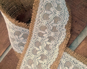 Burlap and Lace ribbon -  Burlap Ribbon - Wedding Ribbon - Wedding Decoration - Wedding Accessory - Rustic Wedding Decor