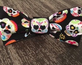 Bow Tie or Flower Collar Attachment & Accessory for Dogs and Cats  / Sugar Skulls Mexican Calavera