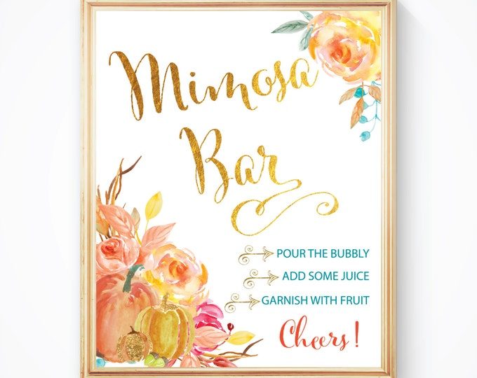 """Fall Mimosa Bar Sign 8x10"""" // Printed //Mimosas // Mimosas & Monograms // Made to Match our CAPE BRETON COLLECTION"""