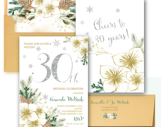 30th Birthday Invitation // Winter 30th Birthday Invitation // Thirtieth Birthday // Snowflakes //  30 // Holiday // VERMONT COLLECTION