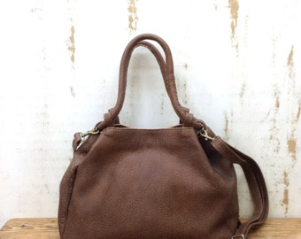 Sale!!! Distressed brown Leather handbag, Medium Leather crossbody bag, Shoulder bag by Limor Galili