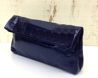Sale!!! Blue Leather Clutch bag leather clutch purse fold over purse clutch bag glosy leathe clutch bag shiny and smooth Handmade with LOVE!