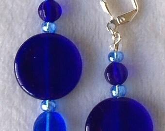 Blue Glass Earrings, Round Blue Earrings, Cobalt Blue Earrings, Cobalt Blue Dangle Earrings, Cobalt Blue Drops,Dark Blue Drops,Drop Earrings