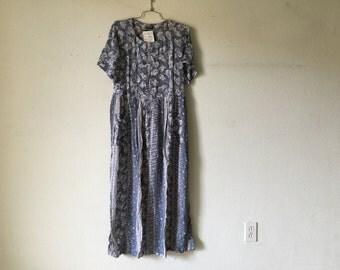 Vintage 80s Floral Dress, Long Maxi Dress