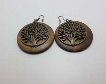 Earthy Brown Rustic Retro Vintage Inspired Wooden Earrings with Metal Pendant Tribal Womens Jewelry