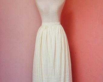 Vintage Yellow Stripes Cotton Maxi Skirt