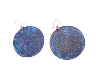 Copper Shell Etched Earrings (E49)