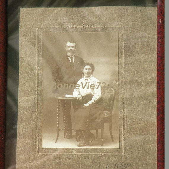 French antique photo in frame, antique couple portrait, antique studio portrait, French antique, antique photo, shabby chic, vintage photo