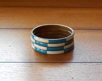 Enamel Bangle Bracelets Set of Four Teal and Creamy White On Brass Vintage Jewelry