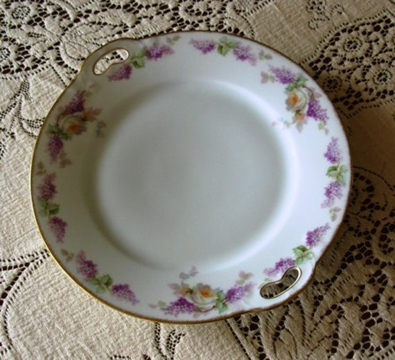 Porcelain Collectors Serving Plate Thomas Bavarian Hand Painted Roses and Lilacs