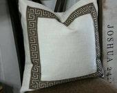 Greek Key Pillow Cover, Designer Pillow Cover 16x16, 18x18, 20x20, 22x22, 24x24, 26x26, P Kaufmann Basket Weave,