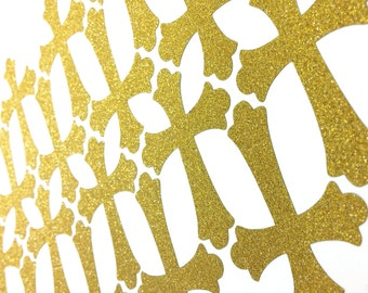 30+ Glitter (no shed) gold cross stickers for baptism, christening, envelope seals, or decoration on your religious events