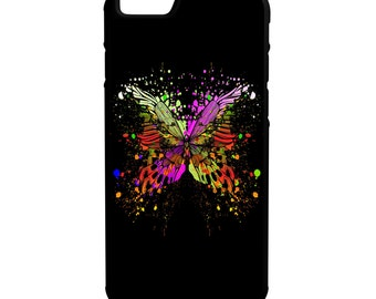 Colorful Butterfly Black Background iPhone Galaxy Lg  Hybrid Rubber Protective Case