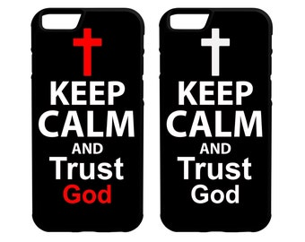 Keep Calm and Trust God iPhone Galaxy Note LG HTC Hybrid Rubber Protective Case