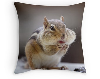 Chipmunk Cushion, Chipmunk Pillow, Woodland Animals, Vegan Gift, Funny Pillow, Cute Animals, Funny Animal, Woodland Creatures, Joke Gift