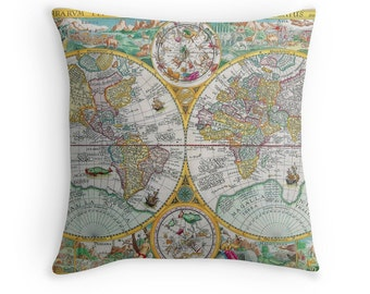 Map Decor, Map of the World, Antique Maps, Antique Map Cushion, Retro Throw Pillow, World Map Cushion, World Map Pillow, Vintage Decor