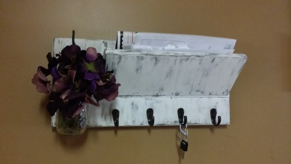 Key Rack Rustic Home Decor Distressed Mail Holder