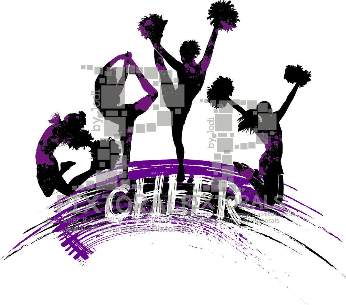 4 cheerleaders logo line art eps file vector and jpeg