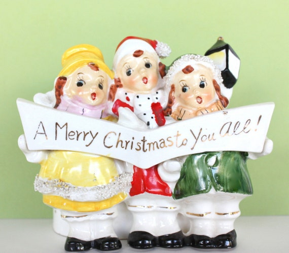 Vintage merry christmas girls wall pocket planter thames japan
