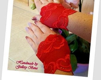 Short red mittens Red fingerless gloves  Lace Mittens Short prom gloves Lace gloves Fashion gloves Wedding gloves Vintage mittens