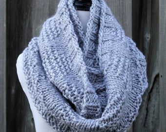 Knit scarf, textured knit scarf, soft dove grey knit infinity scarf, chunky knitted scarf, knit infinity scarf, hand knitted scarf