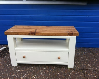Chunky rustic reclaimed timber TV unit with draw Painted