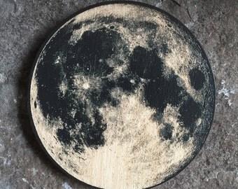 Full Moon Wood Coasters - Space - Single Coaster
