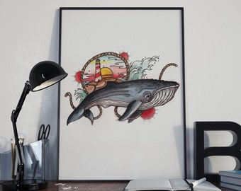 POSTER A3 (11, 4 x 16, 5 in) Whale no lighthouse