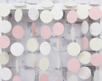 Girl Baby Shower Garland - Pink and Ivory Paper Garland - Blush Pink Nursery Decoration