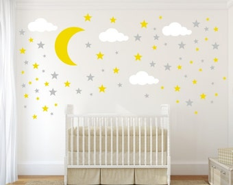 Moon, Stars and Clouds Decals - Cloud Wall Decal - Kids Wall Decoration - Nursery Wall Decal - Vinyl Stickers - Wall Decal for Nursery