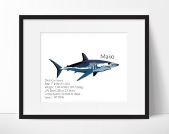 Mako Shark Facts - Shark Decor - Nursery Print - Nursery Art, Classroom Art - Mako Shark Print - Shark Prints  Instant Download 8x10