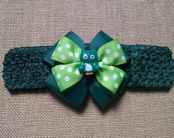 Baby Girl Headband, Owl Headband, Green Headband, Baby Hair Accessory, Baby Headband, Owl Hairbow, Little Girl Hairbow, Green Owl Headband