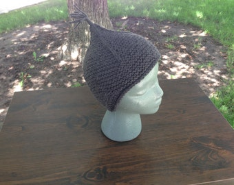 Charcoal Grey Kids Knit Hat | Kids Earflap Hat | Charcoal Grey Tassel Hat | Charcoal Grey Earflap Hat