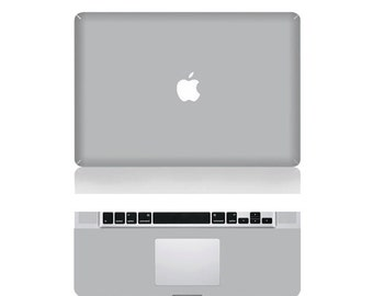 "Macbook Grey Front & Wrist Sticker Vinyl Decal Cover For Macbook Pro 13"" Comes with free keyboard cover and gift"