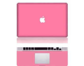 "Macbook Pink Front & Wrist Sticker Vinyl Decal Cover For Macbook Pro 13"" Comes with free keyboard cover and gift"