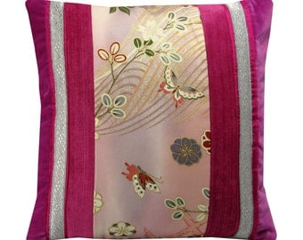 Butterfly cushion cover, Oriental cushion, pink velvet cushion, kimono cushion 43x43 cm