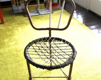 Old Industrial  Childs Rustic Woven Seat and Metal Chair